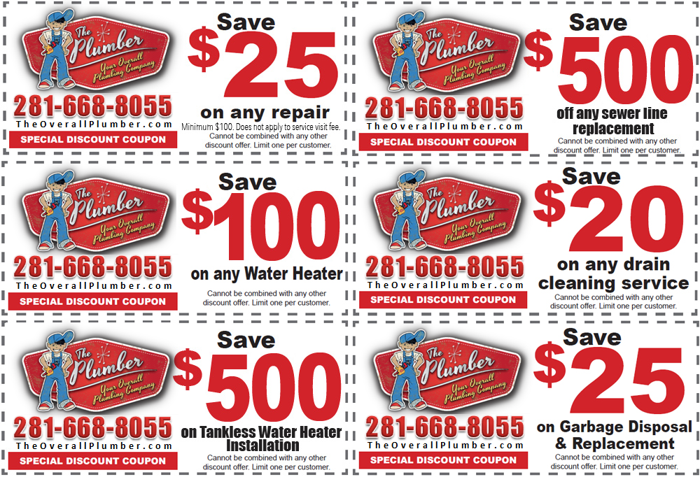 Houston Plumbing Coupon - Internet Plumbing Services Coupon - TheOverallPlumber.com